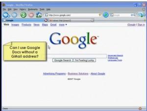 Using Google Docs w/o a GMail Account